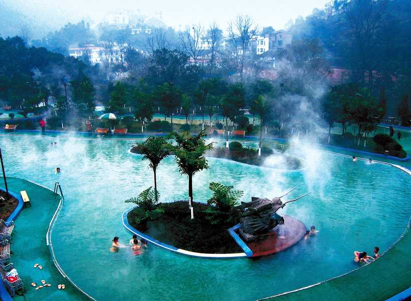 A hot spring pool in Eastern Hot Springs scenic area, Chongqing, China