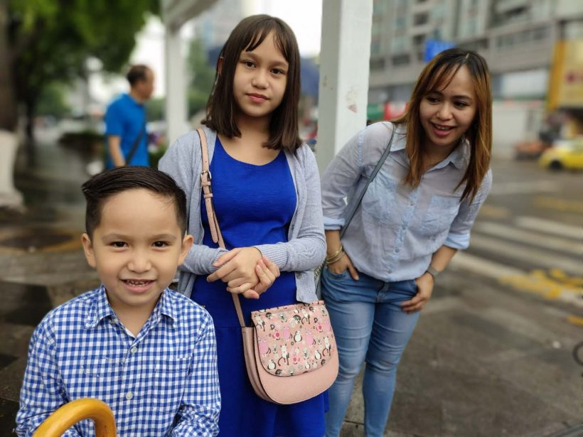 Kara (right) and her children Miggy (left) and Kasia (middle)
