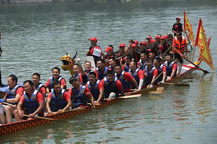 Dragon boat racing during Dragon Boat Festival