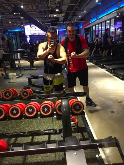 Kai and his friends at the gym