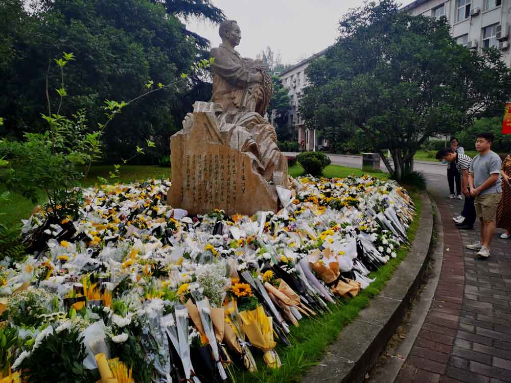 On the afternoon of that day, many teachers and students mourned in front of the statue of Yuan Longping at the College of Agronomy and Biotechnology, south campus of Southwest University.