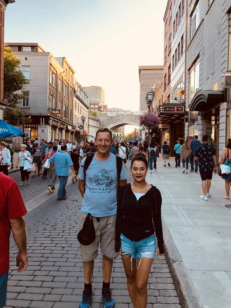 My father and Xiaolin in Old Quebec City, Canada on our last visit, August, 2018