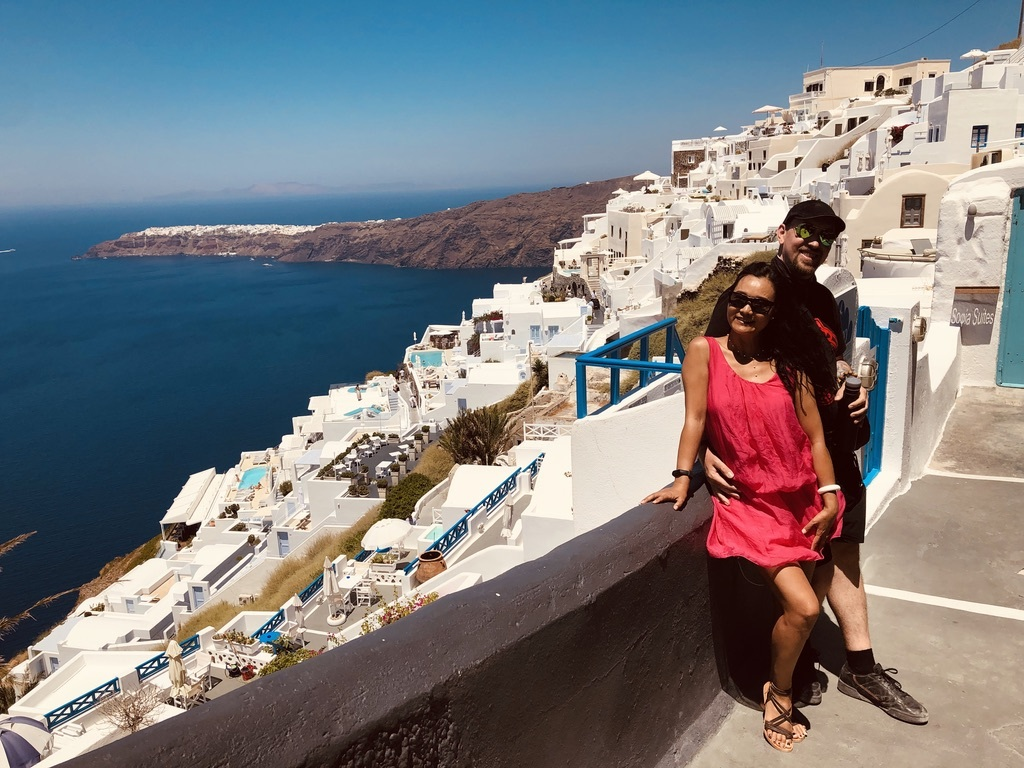 Xiaolin and I on our last pre-pandemic international trip, enjoying our anniversary in Santorini, Greece, August 2019.